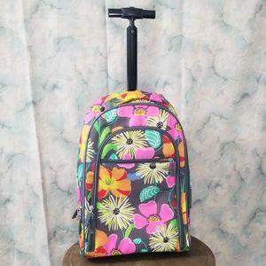 Vera Bradley Jazzy Blooms wheeled backpack carryon